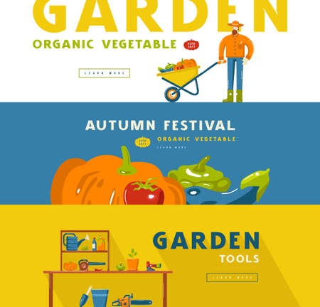 Stock vector illustration of gardening hobby banner set with tools and vegetables. Design in flat style for web banner, flyer and other 向量圖像