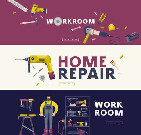 Home repair and workshop banners set. Design in flat style for web banner, flyer and other  イラスト・ベクター素材