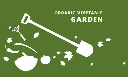 Flyer for organic vegetable garden. White silhouettes on green background
