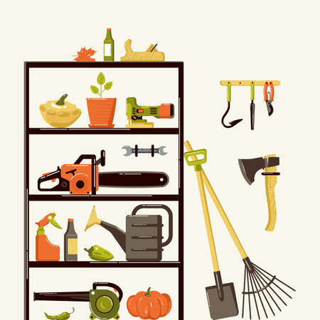 Illustration of gardening tools in pantry. Design in flat style