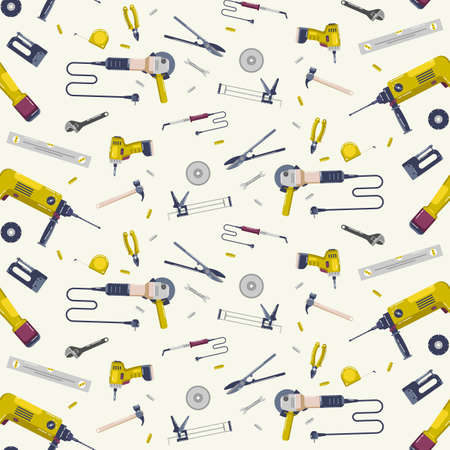 Repair tools seamless pattern. Design in flat style. Color print on white background  イラスト・ベクター素材