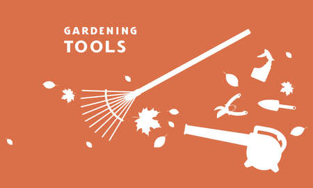 Flyer for garden tools store. White silhouettes on a orange background