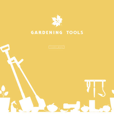 Seamless pattern and label for garden tools store. White silhouettes on a yellow background  イラスト・ベクター素材