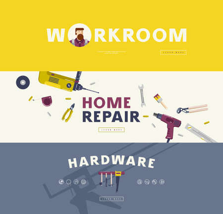 Home repair, hardware and workroom banners set. Design in flat style for web banner, flyer and other