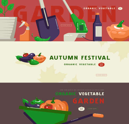 Illustration for autumn festival, gardening tools and vegetables. Design in flat style for web banner, flyer and other