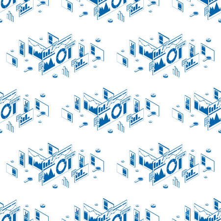 Stock vector seo analytics seamless pattern. Blue isometric silhouettes on white background