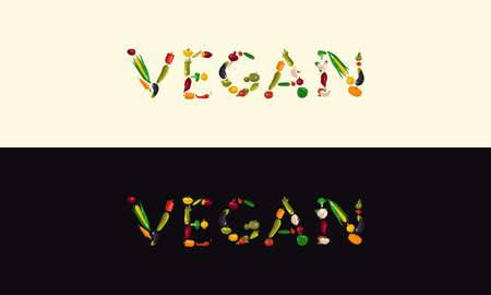 Vegan banner set. letters laid out from vegetables