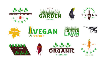 Set of garden, organic vegetable and vegan labels and logo. Color print on white background