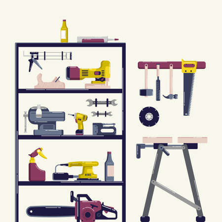 Home repair and workroom illustration. Design in flat style
