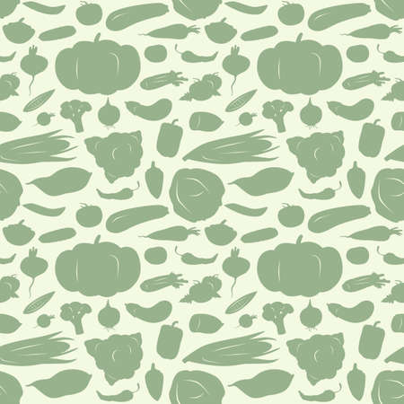 Stock vector illustration of vegetables seamless pattern. Silhouettes on a white background