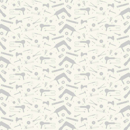 Repair tools seamless pattern. Gray silhouettes on a white background  イラスト・ベクター素材