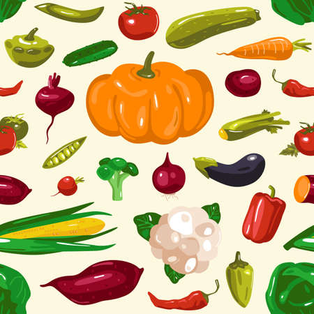 Stock vector illustration of vegetables seamless pattern. Design in flat style. Isolated on white background Vetores