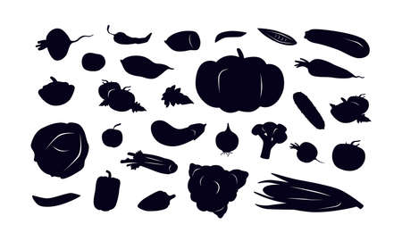 Stock vector illustration of vegetables. Black silhouettes on a white background