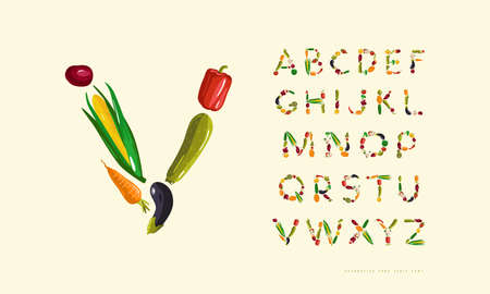 Decorative sans serif font. letters laid out from vegetables. Color print on white background