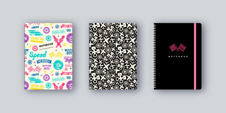 Artistic notebook covers design. Car races pattern