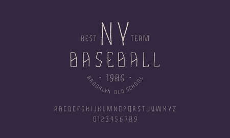 Sans serif font in the style of handmade graphics. Baseball emblem for t-shirt. Letters and numbers with rough texture Ilustração