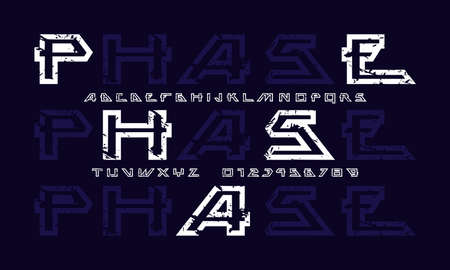 Hollow sans serif font in futuristic style. Letters and numbers with rough texture for sci-fi, military, cosmic logo and title design