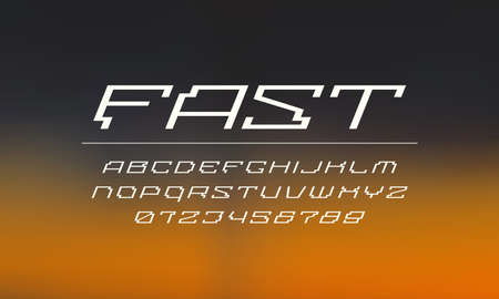 Italic wide sans serif font in cyber style. Letters and numbers for sci-fi emblem design. White print on blurred background