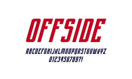 Oblique narrow sans serif font in sport style. Letters and numbers for   emblem design. Color print on white background