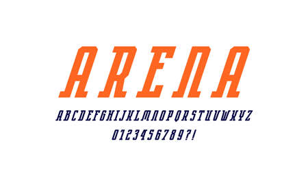 Oblique narrow serif font in sport style. Letters and numbers for emblem design. Color print on white background 일러스트