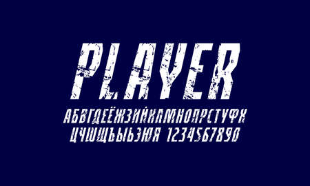Oblique cyrillic narrow sans serif font in the sport style. Letters and numbers with rough texture for   emblem design. White print on blue background 일러스트