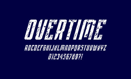 Oblique narrow sans serif font in sport style. Letters and numbers with rough texture for   emblem design. White print on blue background