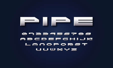 Silver colored and metal chrome wide sans serif font. Letters and numbers for sci-fi, military, space  and title design in futuristic style