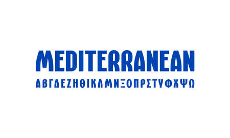 Greek sans serif font in laconic style. Letters for logo and headline design. Blue print on white background