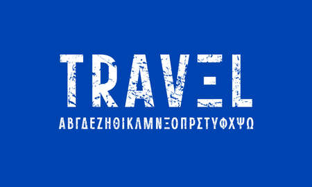 Greek sans serif font in laconic style. Letters with rough texture for logo and headline design. White print on blue background