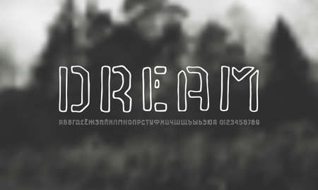 Cyrillic sans serif font in the style of handmade graphic. Hollow letters and numbers for logo and t-shirt design. White print on blurred background