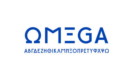 Greek sans serif font in classic style. Letters for logo and headline design. Blue print on white background Иллюстрация