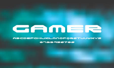Wide sans serif font with rounded corners. Letters and numbers for sci-fi logo and emblem design. White print on blurred background