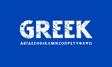Greek sans serif font in classic style. Bold face. Letters with rough texture for logo and headline design. White print on blue background