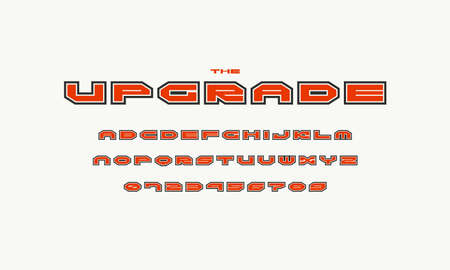 Wide sans serif font with contour. Letters and numbers for sci-fi logo and emblem design. Color print on white background 向量圖像