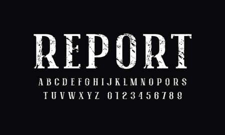 Narrow serif font in newspaper style. Letters and numbers with rough texture for logo and headline design. White print on black background