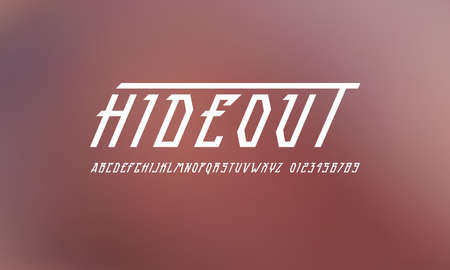 Oblique narrow sans serif font in futuristic style. Letters and numbers for sci-fi, movie, cyber and space logo design. White print on blurred background 向量圖像
