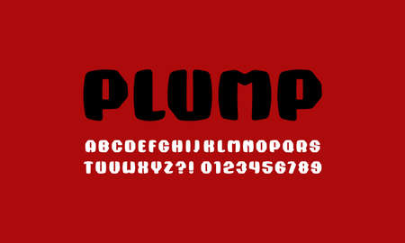 Plump sans serif font with rounded corners. Letters and numbers for sport logo and emblem design. Color print on red background Иллюстрация