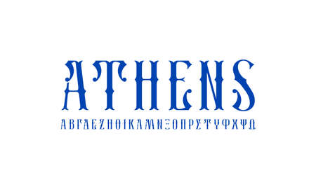 Greek decorative serif font. Letters for alcohol logo and label design. Blue print on white background