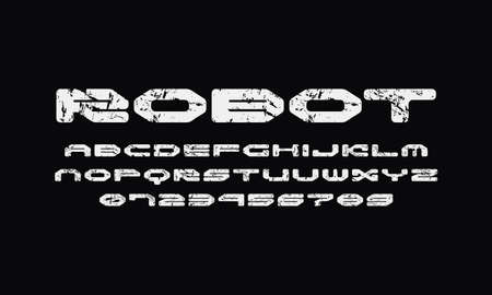 Wide sans serif font with rounded corners. Letters and numbers with rough texture for sci-fi logo and emblem design. White print on black background