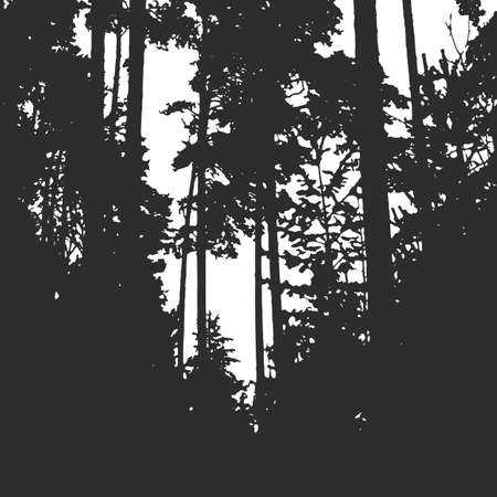 Forest texture for your background. Black and white print Иллюстрация