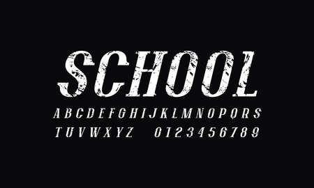 Oblique narrow serif font in newspaper style. Letters and numbers with rough texture for logo and headline design. White print on black background Иллюстрация