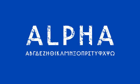 Greek sans serif font in classic style. Letters with rough texture for logo and headline design. White print on blue background Иллюстрация