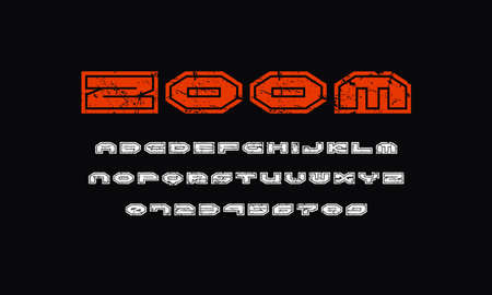 Wide sans serif font with contour. Letters and numbers with rough texture for sci-fi logo and emblem design. Color print on black background