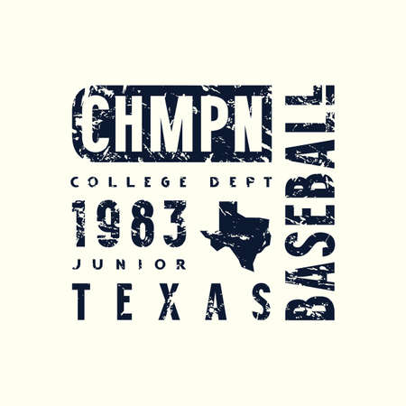 Emblem of baseball championship in Texas. Graphic design with vintage texture for t-shirt. Black print on white background Çizim