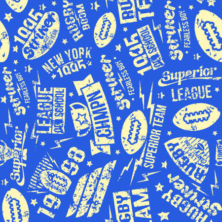 Rugby team seamless pattern. For web background and wallpaper design
