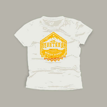 Montana snowboarding school emblem. Graphic design for t-shirt. Yellow print on white wear