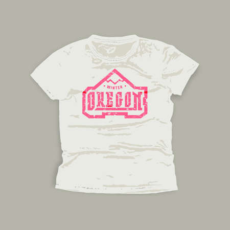 Oregon typographic emblem. Graphic design for t-shirt. Pink print on white wear