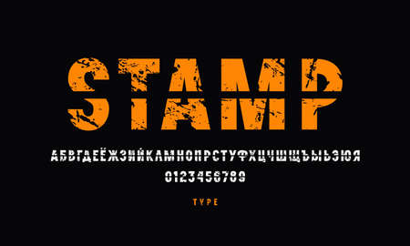 Cross out sans serif font. Cyrillic letters and numbers with vintage texture for emblem design. Color print on black background Vector Illustratie