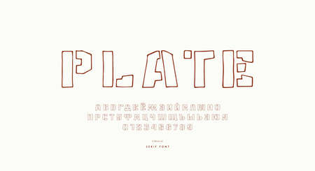 Hollow stencil-plate sans serif font in the style of hand drawn graphic. Cyrillic letters and numbers for logo and label design. Vector illustration