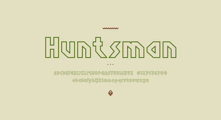 Hollow sans serif letters font in viking style for logo and headline design. Vector illustration